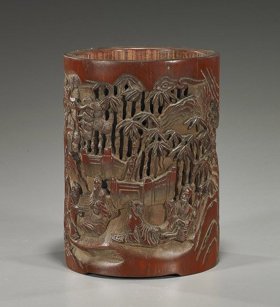 219: Chinese Carved Bamboo Brushpot: Landscape