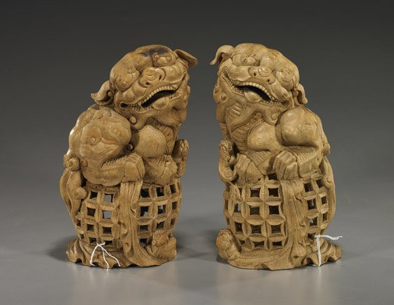 220: Pair Elaborately Carved Bamboo Lions