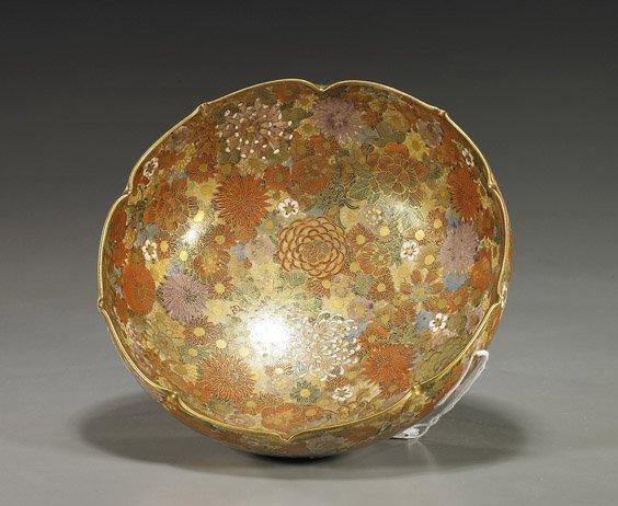 224: Old Satsuma Millefleur Foliate Bowl