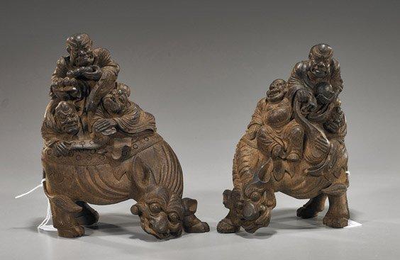 225: Pair Chinese Bamboo Lohans on Animals