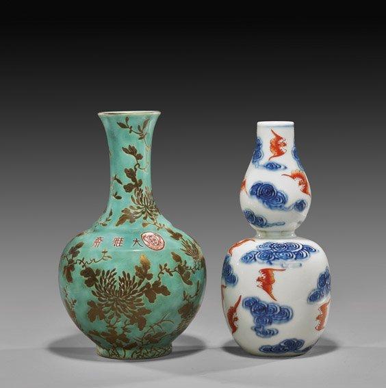 230: Two Chinese Enameled Porcelain Vases
