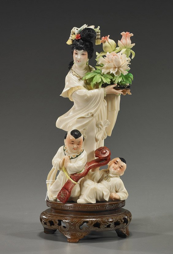 277: Chinese Polychromed Ivory Figural Group