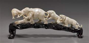 379: Chinese Carved Ivory Animal Group