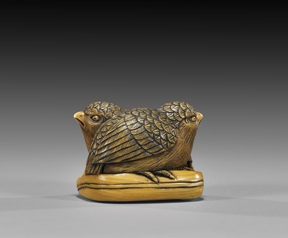 1: CARVED IVORY NETSUKE: Two Quails