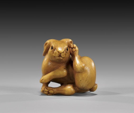 8: CARVED IVORY NETSUKE: Rabbit