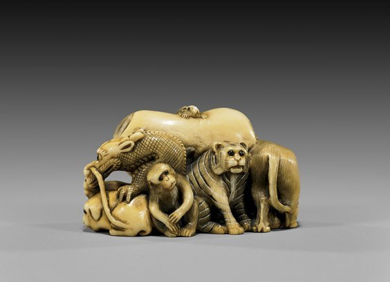 10: CARVED IVORY NETSUKE: Zodiac Animals