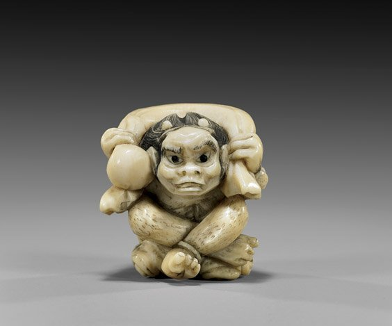 20: CARVED IVORY NETSUKE: Wind God