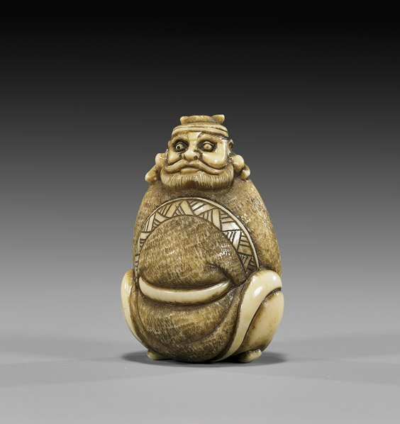 24: CARVED IVORY NETSUKE: Shoki with Sword