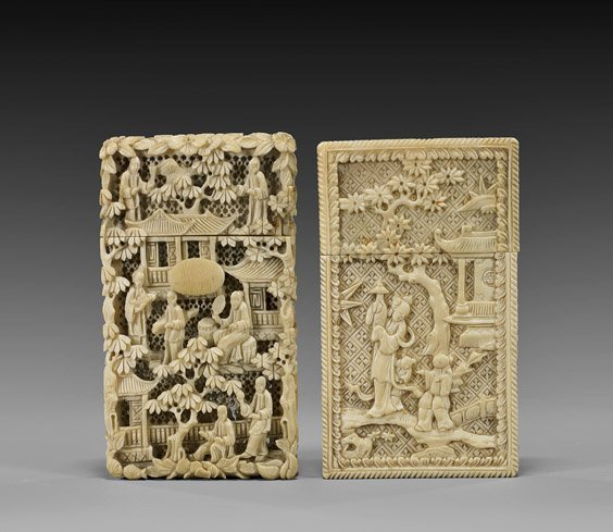87: TWO ANTIQUE CHINESE IVORY CARD CASES