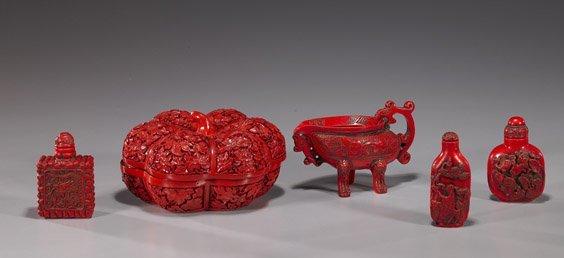 21: Group of 5 Chinese Cinnabar-Like Items