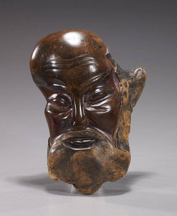 23: Chinese Carved Burlwood Bearded Head