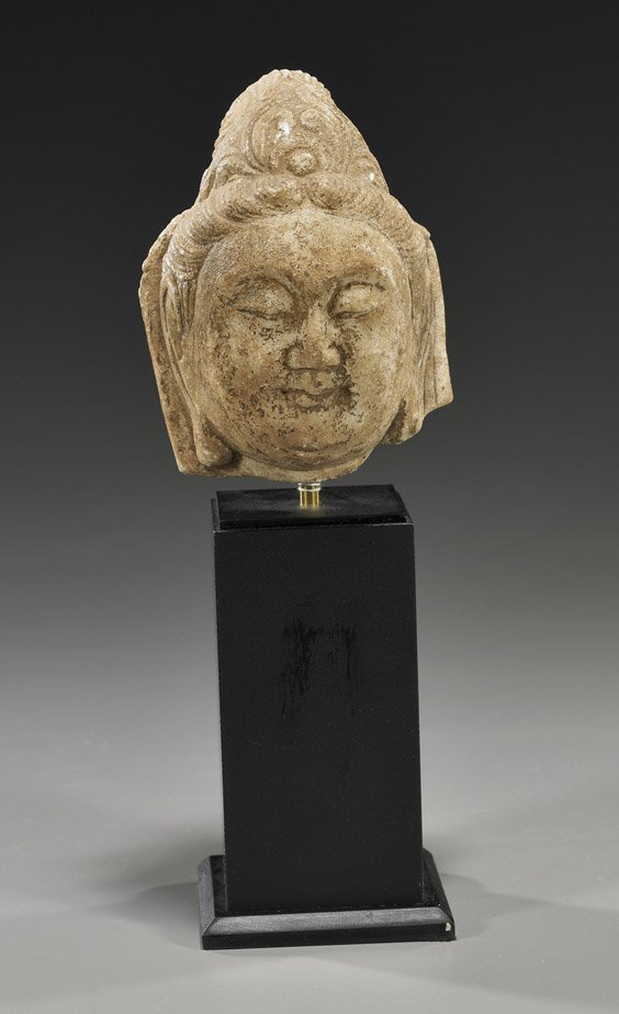 24: Chinese Marble Head of Bodhisattva
