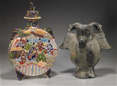 114: Two Large Ceramic Vessels: Japanese & Pre-Columbia