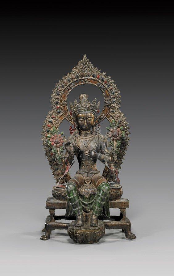 303: Large Sino-Tibetan-Style Bronze Deity