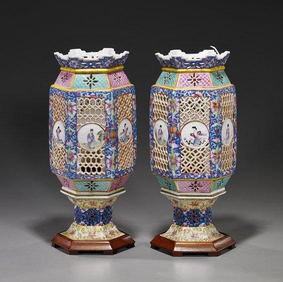 468: Pair Chinese Porcelain Wedding Lamps