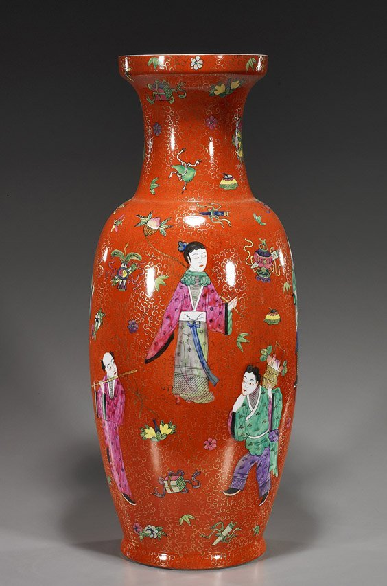 Tall Chinese Coral Ground Porcelain Vase