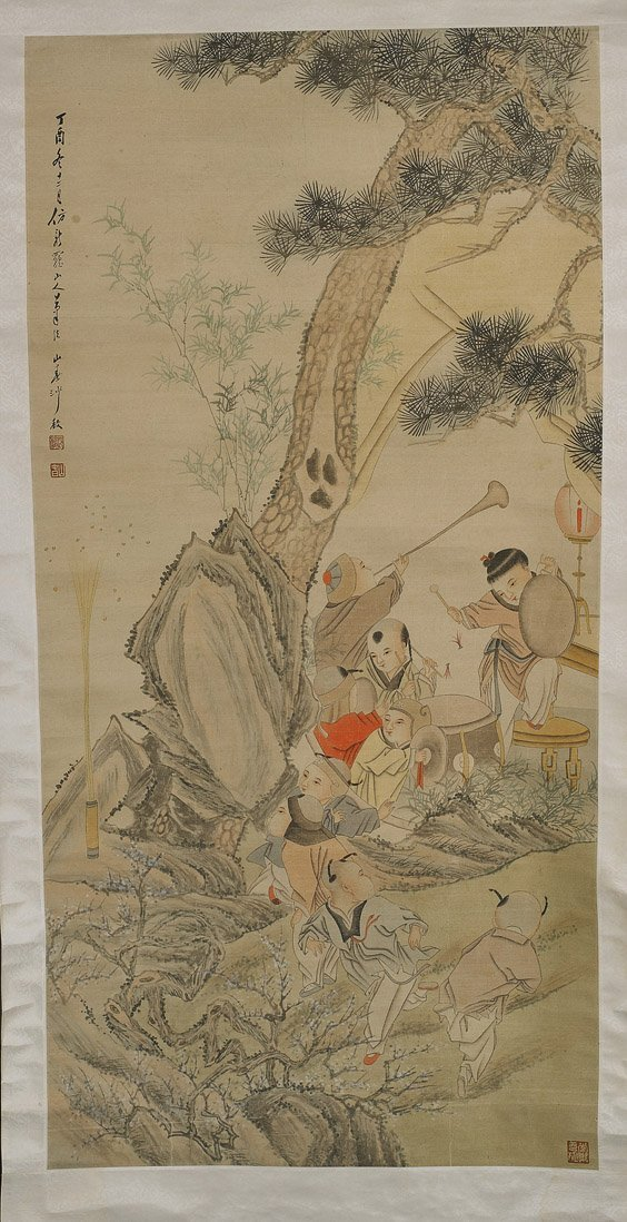Chinese Paper Scroll: Boys Group