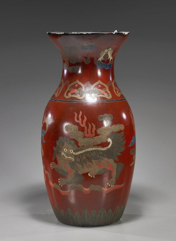 Tall Chinese Lacquer Vase with Lions