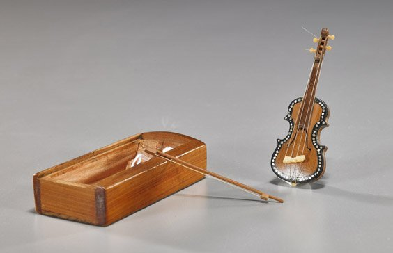Miniature Boxed Violin with Bow