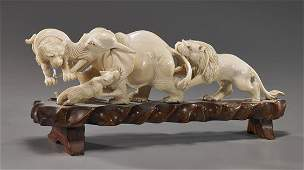 Chinese Carved Ivory Group of Animals
