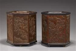 Pair Chinese Hexagonal Bamboo Brushpots