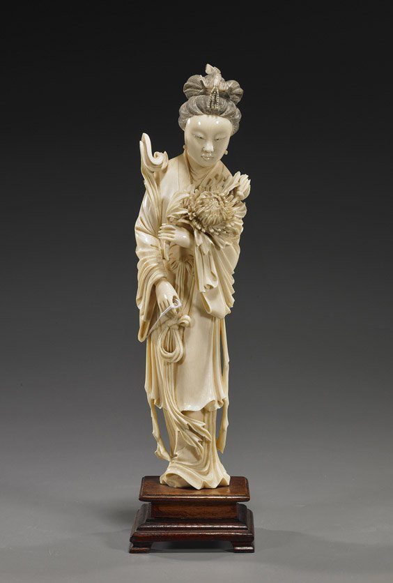 Chinese Finely Carved Ivory Beauty