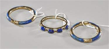 Three Chinese Lapis Lazuli Bracelets