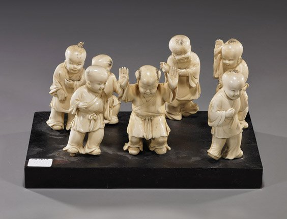 Set of 7 Chinese Carved Ivory Boys