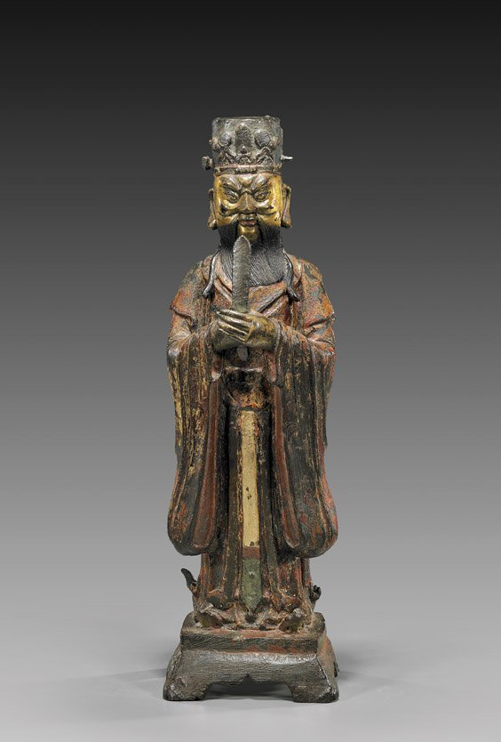 128: MING DYNASTY LACQUERED BRONZE FIGURE