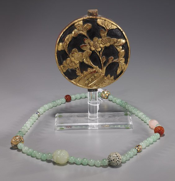 2A: Two Chinese Items: Necklace & Wood Plaque