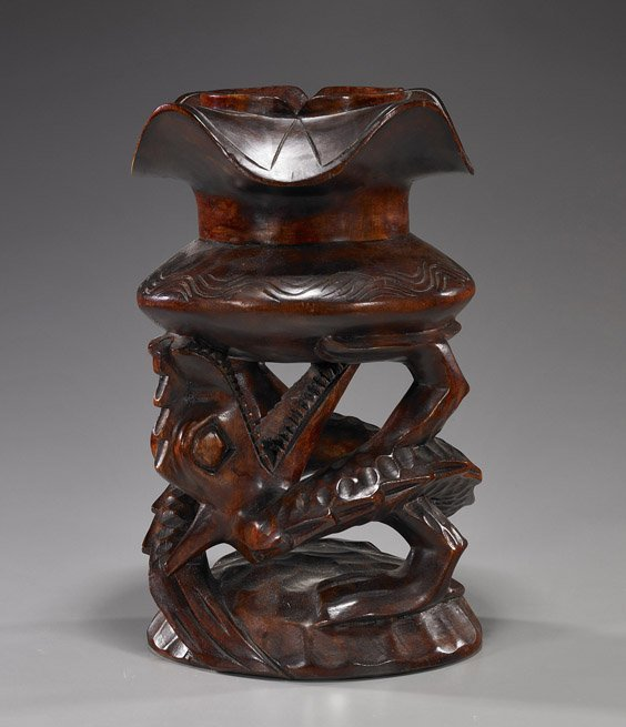 10: South Chinese Carved Wood Dragon Stand