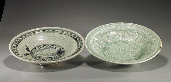 16: Two Large Asian Glazed Ceramic Dishes