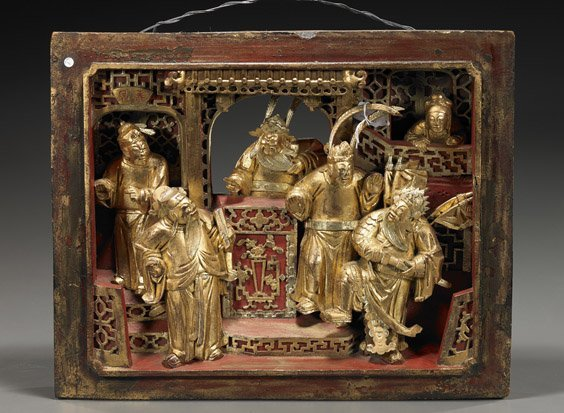 120: Antique Chinese Carved & Gilt Wood Panel