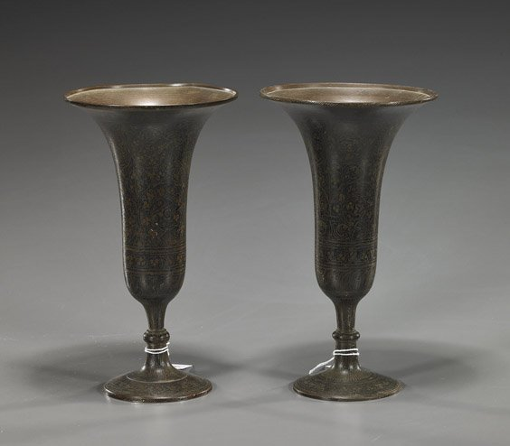 7: Pair Indian Lacquered Bronze Stem Cups