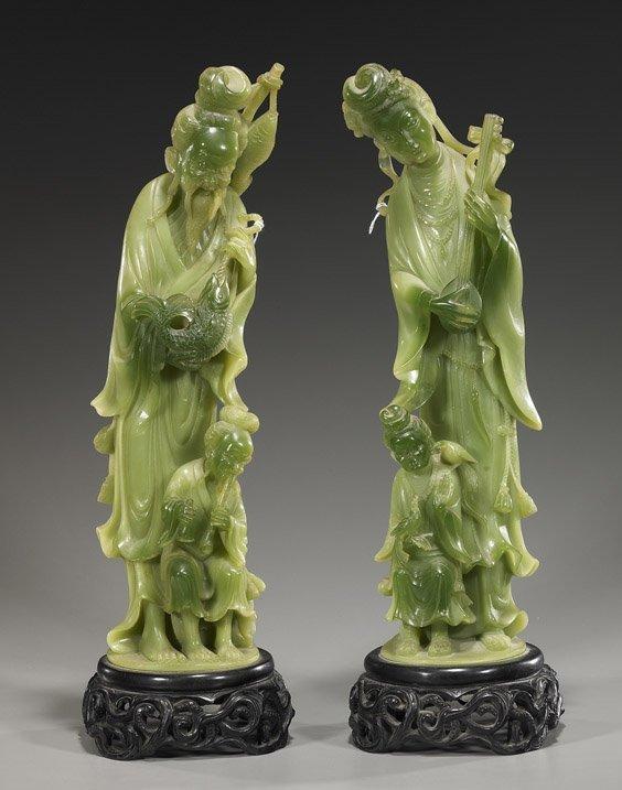 "12: Pair Tall Green ""Amberine"" Figures"