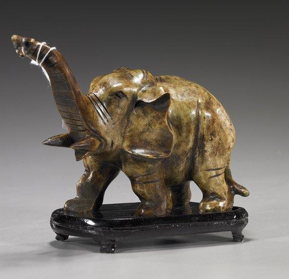 14: Chinese Carved Hardstone Elephant