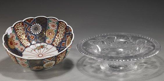 15: Two Various Bowls: Cut Crystal & Imari