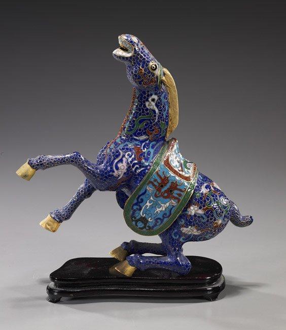 18: Chinese Cloisonné Enamel Rearing Horse