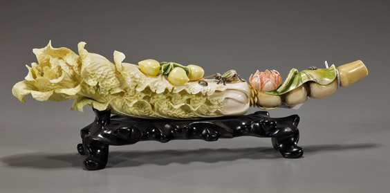 383: Chinese Carved & Polychromed Ivory Cabbage