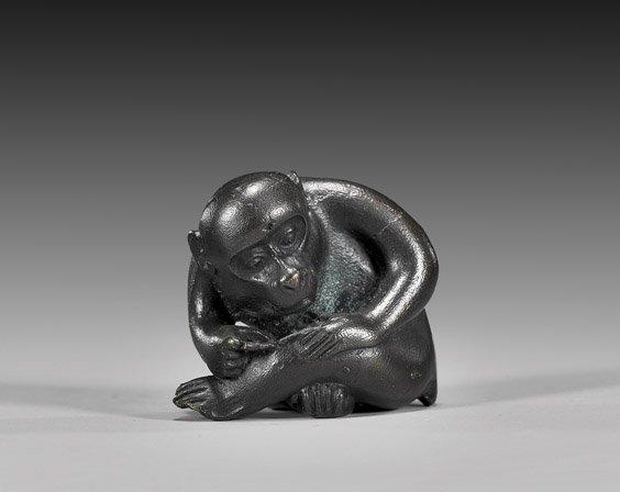 4: AMUSING BRONZE NETSUKE: Monkey