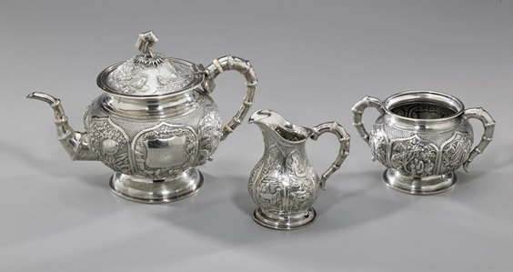 301: ANTIQUE CHINESE EXPORT SILVER TEA SET