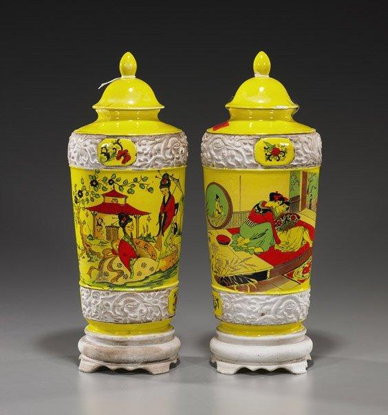 Pair Italian Chinoiserie Motif Covered Vases
