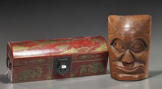 Pig Skin Box & Wood Mask/Plaque