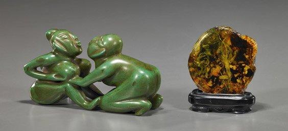 Green Stone Group & Amber-Like Specimen