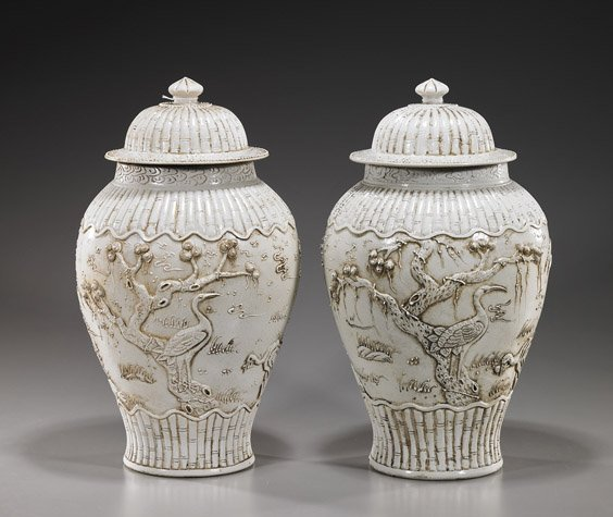 Pair Chinese White Porcelain Covered Jars