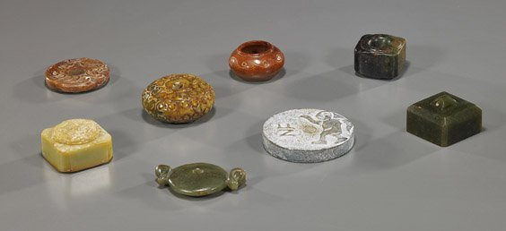 8 Chinese Archaistic Carved Jades/Hardstones
