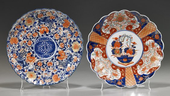Two Antique Japanese Imari Porcelain Plates