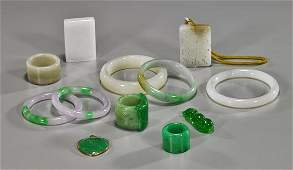 Group of Chinese Jade  Jadeite Objects