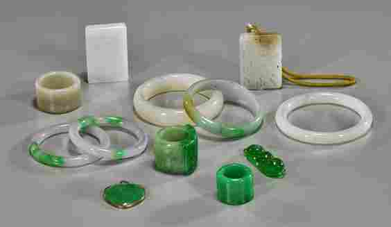 Group of Chinese Jade & Jadeite Objects