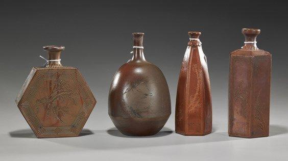 Four Old Japanese Pottery Sake Bottles